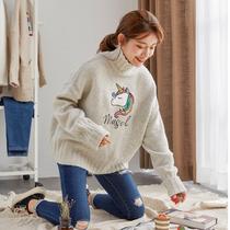 唐狮2018冬新款毛衣女半高领套头宽松白色外穿上衣针织衫短款学生