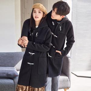 唐狮冬季妮子外套情侣连帽牛角扣中长款羊绒毛呢大衣ULZZANG韩版