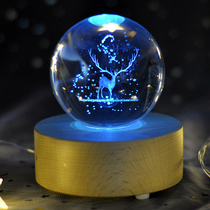 雪花水晶球旋转木马八音盒音乐盒儿童女孩生日礼物送女友天空之城