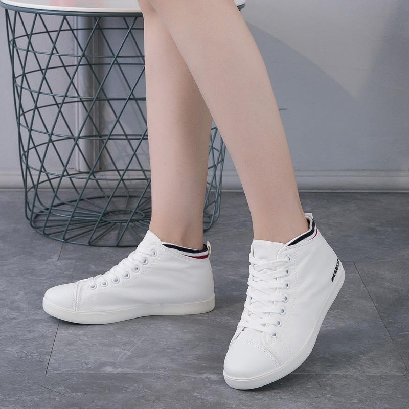 回力女鞋内增高帆布鞋女款春秋季韩版潮高帮小白鞋中学生休闲板鞋
