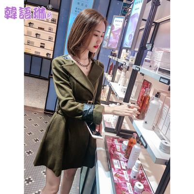 韩语琳2018秋冬新款女装韩版收腰绑带中长款长袖修身毛呢外套大衣