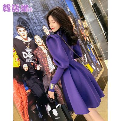 韩语琳秋冬装2018新款女装裙子韩版修身收腰高领长袖连衣裙短裙女