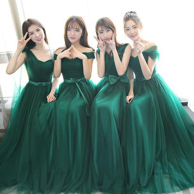 伴娘服长款姐妹裙2018秋季新款韩版修身伴娘礼服伴娘团宴会晚礼服