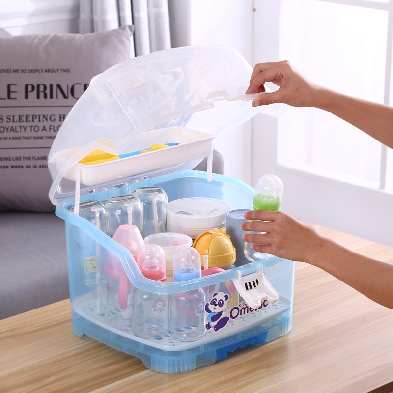 宝宝奶瓶收纳箱盒大号便携式婴儿带盖防尘沥水篮晾干燥餐具储物盒