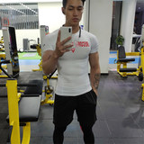 EVS tights men short-sleeved muscle t-shirt brothers white quick-drying clothes gym ice silk sportswear
