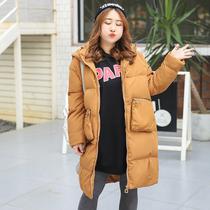 2017冬季新款加大码女装连帽中长款拉链棉服胖mm连帽保暖棉衣外套