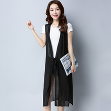 Summer thin, loose, large, medium and Long-style knee-length jacket, flax shoulder shawl, air-conditioned waistcoat