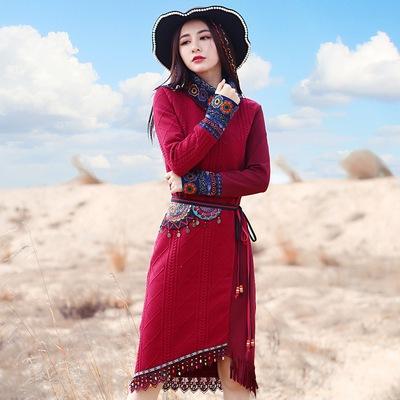 两人故事复古民族风女装秋冬新款印花中长裙女士连衣裙腰带需另拍