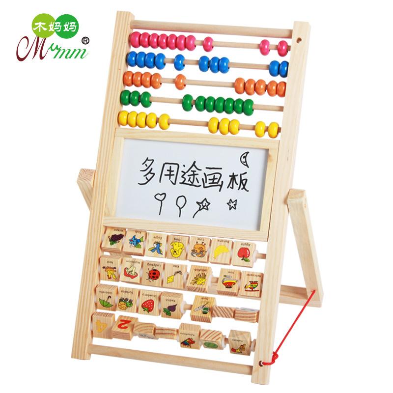 迷你挂壁式小黑板 黑白双面磁性画板 原木木制儿童写字板学习用品