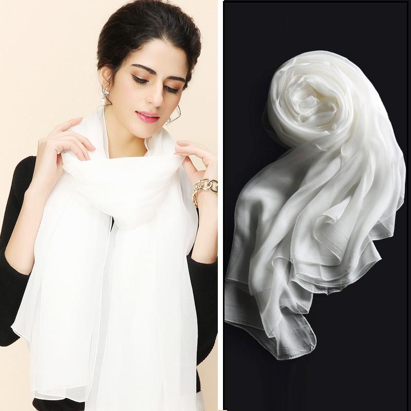 超大白色丝巾