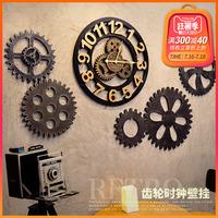 复古工业风创意客厅美发店钟表装饰齿轮挂钟酒吧墙壁墙上时钟挂件
