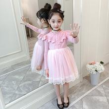 蕾丝蛋糕网红裙子 洋气公主裙小女孩长袖 女童连衣裙秋2019新款 韩版图片
