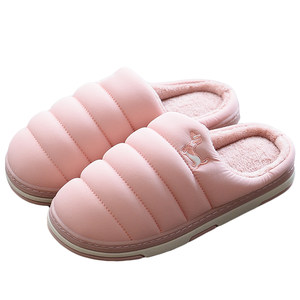 安尚芬情侣家居棉拖鞋女居家包跟冬季保暖室内羽绒布男士棉鞋大码