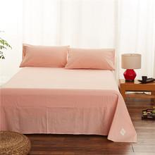 纯棉简约水洗棉单件床单 单双人日式纯色条纹格子1.5米X2m床被单