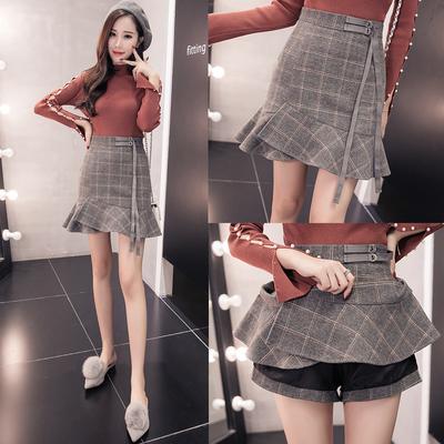 秋冬季新款荷叶边高腰格子毛呢a字半身裙短裙女鱼尾裙包臀一步裙