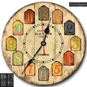 欧式做旧怀旧乡村田园复古客厅壁钟创意简约装饰超静音木质挂钟表