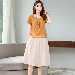 洋气显瘦休闲棉麻连衣裙2019夏季新款女装时尚亚麻裙子套装两件套
