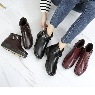 2018冬季新款中年女鞋平底冬鞋女中老年妈妈棉鞋大码防滑短靴冬鞋