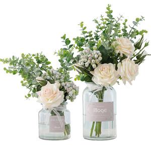 陌歌玫瑰花束塑料花假花仿真花客厅家居摆设花瓶装饰花艺餐桌摆件