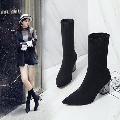 短靴女秋季2018韩版新款尖头粗跟弹力袜靴针织中筒靴百搭高跟踝靴
