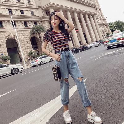 套装女夏装韩版新款时尚条纹针织上衣+高腰破洞休闲牛仔裤两件套