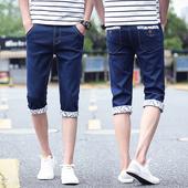 小脚七分牛仔裤 男士 弹力休闲7分裤 修身 韩版 牛仔短裤 薄款 夏季男装