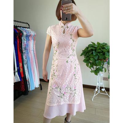东方贵族2018夏装新款奥黛旗袍时尚改良中长款显瘦蕾丝刺绣连衣裙