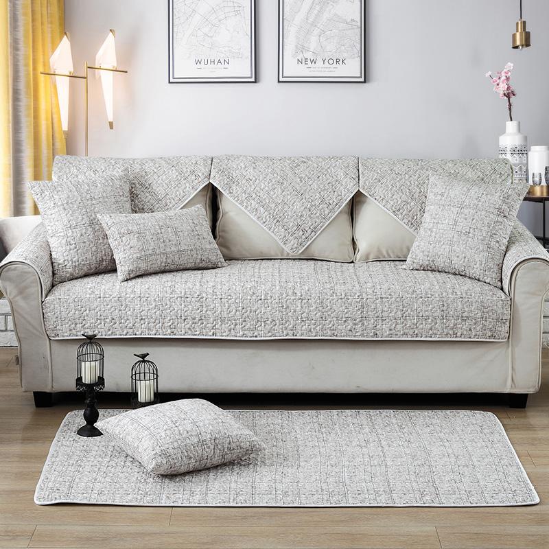 北歐純棉沙發墊布藝坐墊簡約現代沙發套實木防滑沙發圖片