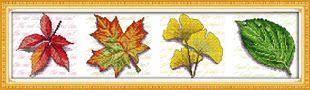 新款横幅叶子印花十字绣枫叶银杏叶树叶整福客厅漂亮装饰简约现代