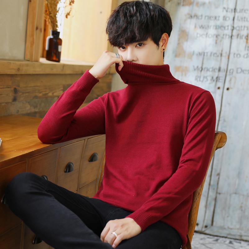 纯棉高领男毛衣