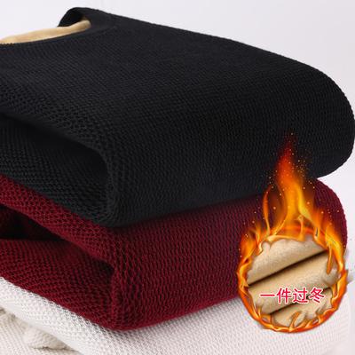 加绒纯棉男士冬装新款青少年毛衣潮流男款冬季加厚纯色圆领针织衫