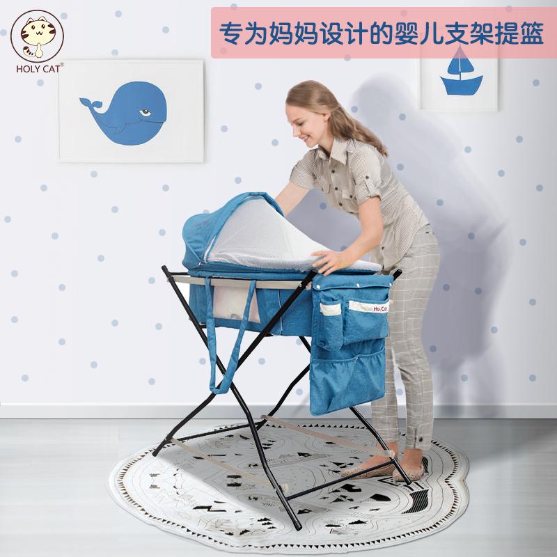 婴儿摇篮便携式车载安全提篮多功能哄娃睡篮可折叠手提出院推车