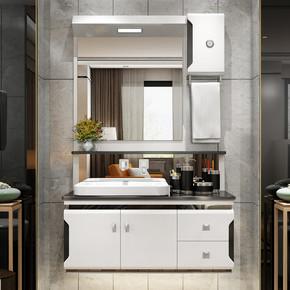 黑白简约PVC浴室柜组合洗脸盆柜卫生间镜灯吊柜洗漱台洗手台面盆