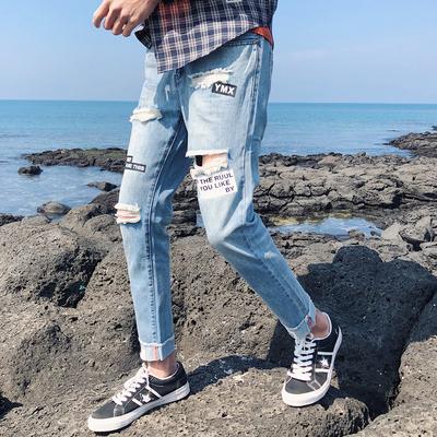 夏款男生时尚字母印花膝盖破洞乞丐裤个性青少年学生九分牛仔裤子