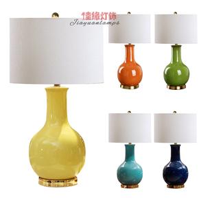 陶瓷台灯卧室床头灯大号客厅欧式美式新中式橘红色蓝黄青花瓷奢华