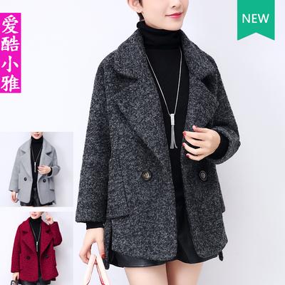 小个子毛呢外套女短款韩版209春季新款大码加厚宽松斗篷呢子大衣