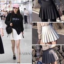 韩国2019明星同款夏季新款高腰白色防走光百褶裙半身裙黑色短裙女