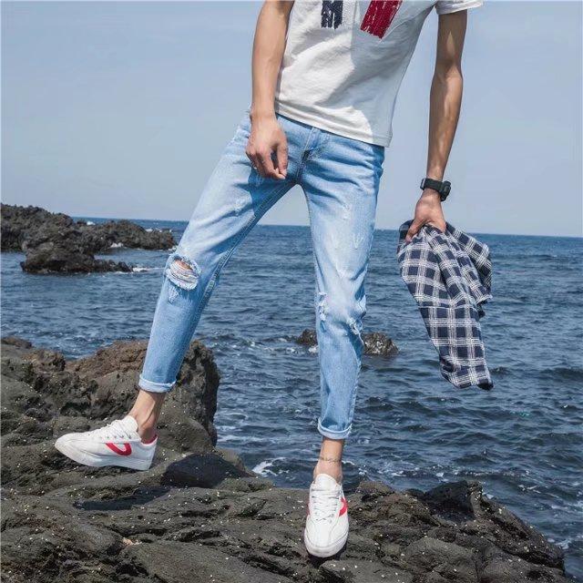 2017夏季男裤子破洞牛仔裤百搭潮流韩版直筒修身小脚青少年九分裤