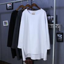 韩版春秋女装胖mm显瘦中长款纯棉打底衫加大码200斤宽松长袖t恤潮