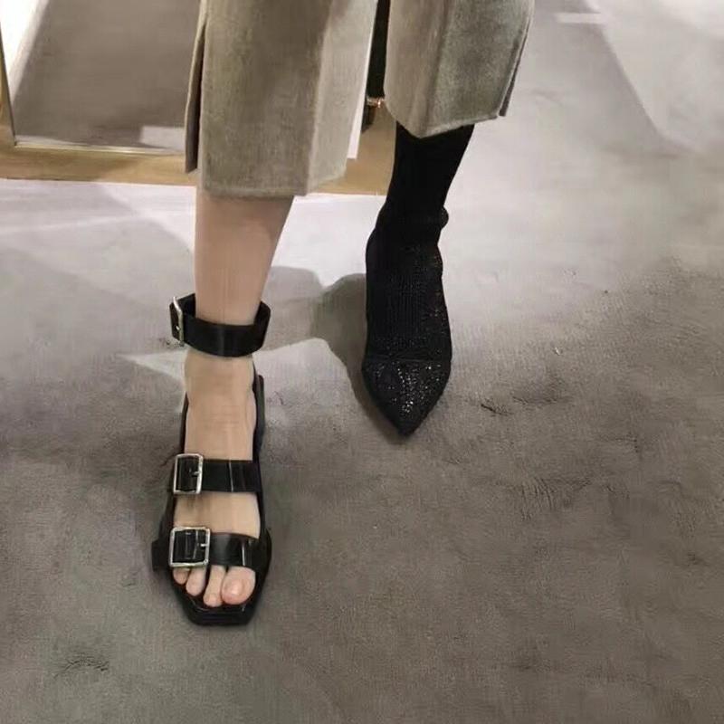 欧美复古粗跟凉鞋