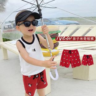辰辰妈男童装 迪士尼父子亲子装米奇满印短裤夏季潮儿童休闲中裤