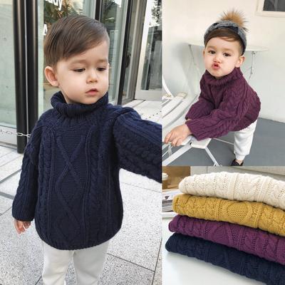 辰辰妈婴童装儿童冬装男童高领毛衣套头加厚宝宝粗线麻花针织上衣