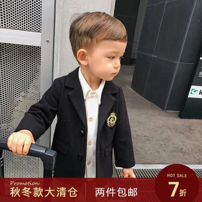 辰辰妈婴童装秋冬装男童帅气徽章西装外套学院风1-3岁儿童小西服