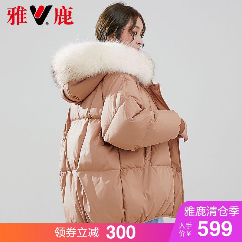 yaloo/雅鹿羽绒服女短款2018新款 韩版 宽松加厚大毛领小款羽绒服