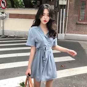 2018新款时尚百搭气质显瘦收腰POLO领短袖小心机条纹连衣裙衬衫裙