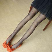 花潮花汐梦幻条纹复古超薄透明提花连裤袜日系打底袜丝袜子女
