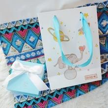 天空蓝丝带光面礼品袋 小象 18年新包装 贝奇原创手绘太空里