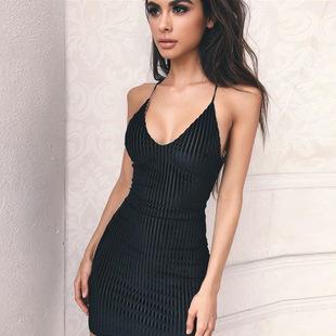歐美爆款2019年熱銷夏季魅惑女裝新款吊帶V領露背綁帶連衣裙女