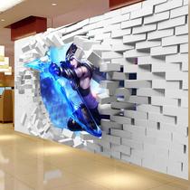 立体动漫英雄工装墙纸美国队长超能壁纸电影主题包厢背景墙墙布3d