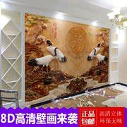电视背景墙壁纸5d立体凹凸壁画新中式大气装饰客厅8d家用影视墙布